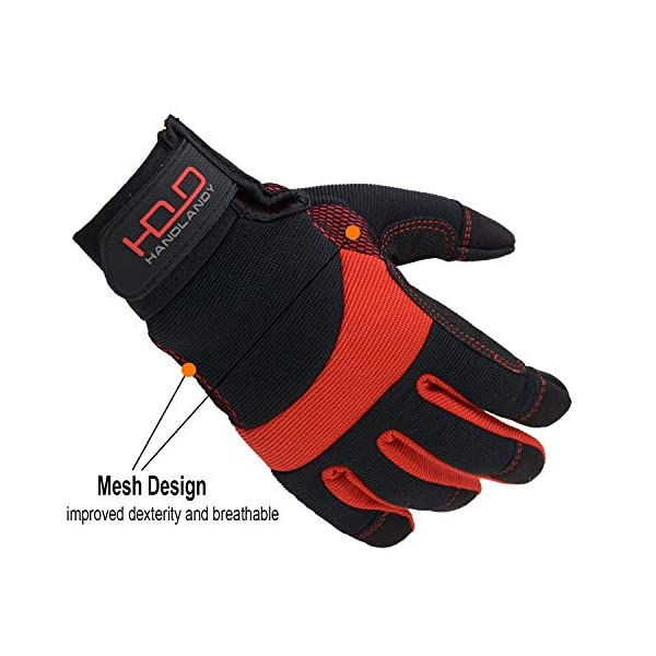 HANDLANDY Hi-vis Reflective Work Gloves, Anti Vibration Safety Gloves, Touch Screen, Orange Flexible Spandex Back (Small… 3
