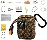 The Friendly Swede Survival Pod - 20 Accessories Emergency Paracord (Army Green Camo)