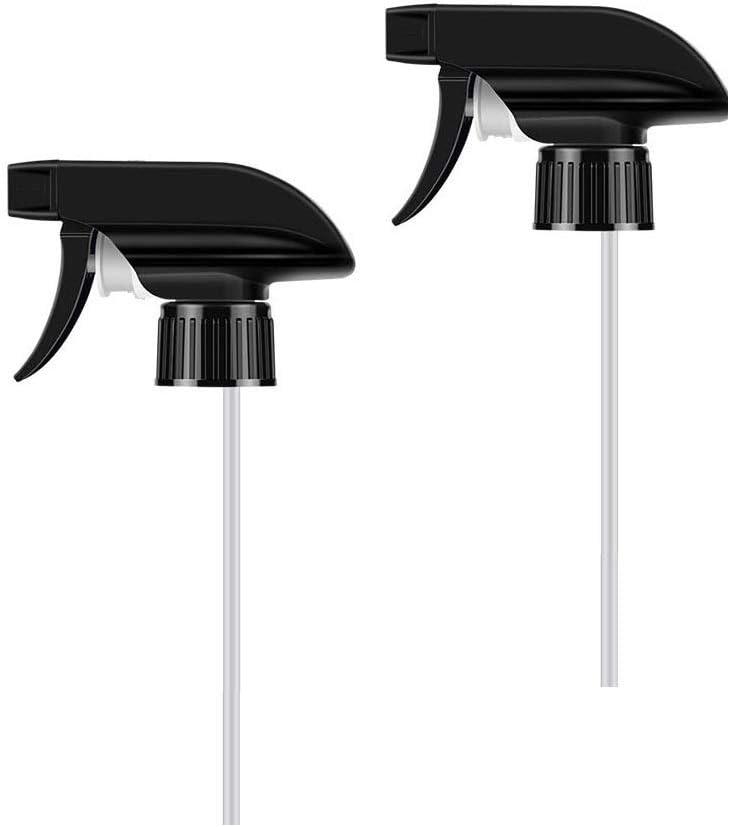 2 Pack Mist Spray & Stream Sprayer Replacement Fits Standard 8oz/16oz Bottles-Trigger Spray Nozzles for 28/400 Neck Boston Round Bottles(Black)