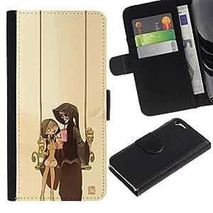 JackGot ( Pareja Parca ) Apple iPhone 5 / iPhone 5S la tarjeta de Crédito Slots PU Funda de cuero Monedero caso cubierta de piel