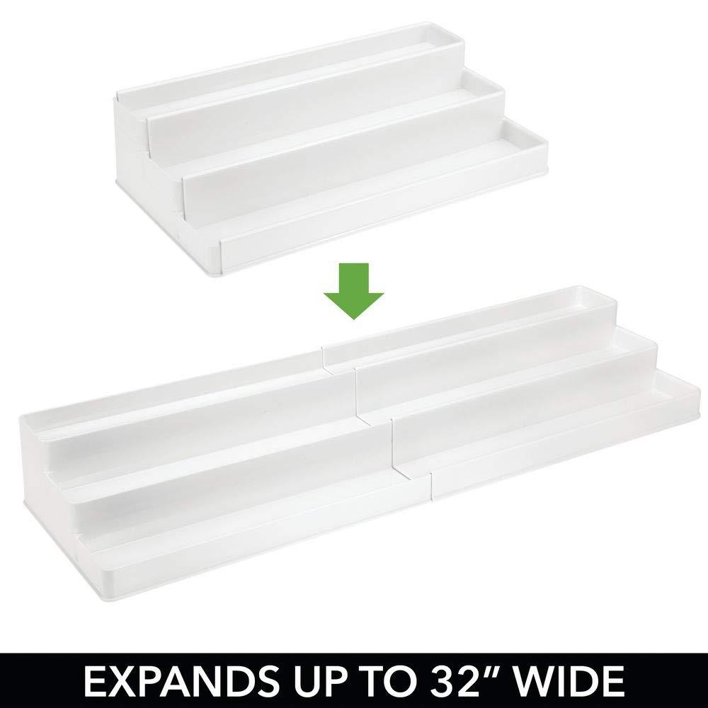 Estante Extensible para almacenar condimentos y ordenar la Cocina Blanco MetroDecor mDesign Especiero para Armario de Cocina o encimera Organizador de Especias en pl/ástico con Tres Niveles