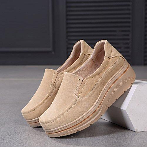 Femmes Plates Lily999 I'usure Suède Le Chaussures Quotidienne Casuel Pour Travail Et Beige Mocassin Confort FUf0Ux1