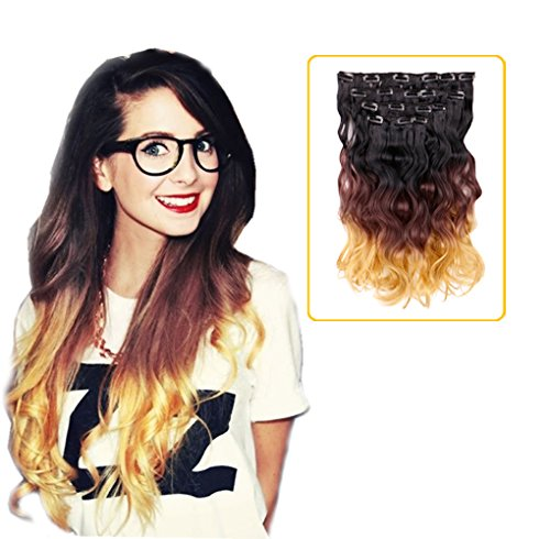 """Creamily #1B/6/27 18"""" Wavy Clip In Hair Extensions 3-Tone Om"""