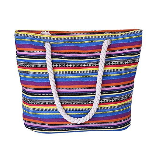 Funnmart Summer Bohemian Women Canvas Striped Shoulder Beach Bag Female Casual Tote Shopping Big Bag Messenger - Armoire Canvas