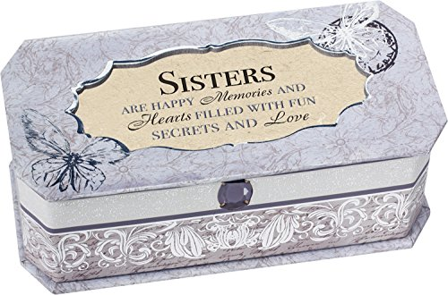 Sisters are Happy Memories Petite Periwinkle Belle Papier Jewelry Music Box - Plays Song Light Up My Life
