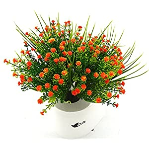 Bird Fiy Babys Breath Artificial Flowers,4 Bundles Gypsophila Flower Wedding Home Decor Gift(Orange) 82