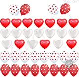 Heart Balloons Decorations Kit for Valentines Day - Pack of 40 Ballons - Heart Shape Latex Balloons - Heart Printed Latex Balloons - Valentines Day Decorations - Valentine Balloons