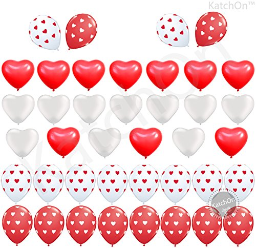 Heart Balloons Decorations Kit for Valentines Day - Pack of 40 Ballons - Heart Shape Latex Balloons - Heart Printed Latex Balloons - Valentines Day Decorations - Valentine Balloons (2 Piece Printed Hearts)