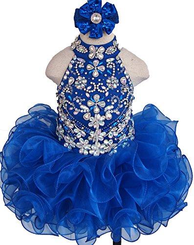 Jenniferwu Infant Toddler Baby Newborn Little Girl's Pageant Party Birthday Dress G284-6 Blue Size 9-12M (Best Etsy Wedding Dresses)
