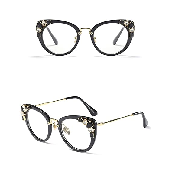 d494859c0885 Amazon.com  Rhinestone Eyeglasses Ladies Luxury Sexy Cat Eye Eyewear Frames  Women Decoration (black frame)  Clothing