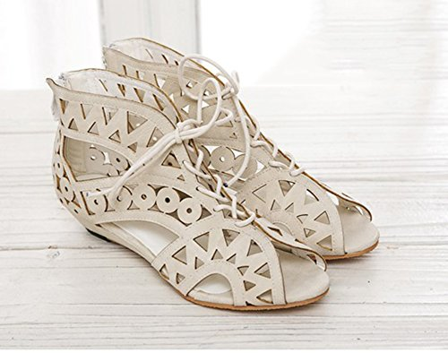 Compensées Chaussures Romain Blanc d'été Découpées Sandales Femme à pour YOUJIA Lacets Gladiateur 1 qpUwExqC