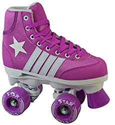 New Epic Purple Star Indoor / Outdoor Classic High-Top Quad Roller Skates w/ 2 Pair of Laces (Purple & White)
