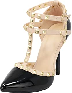 9027f79ef91 Wild Diva Womens Pointy Toe Gold Stud Strappy Ankle T-Strap Stiletto Heel  Pump Sandal
