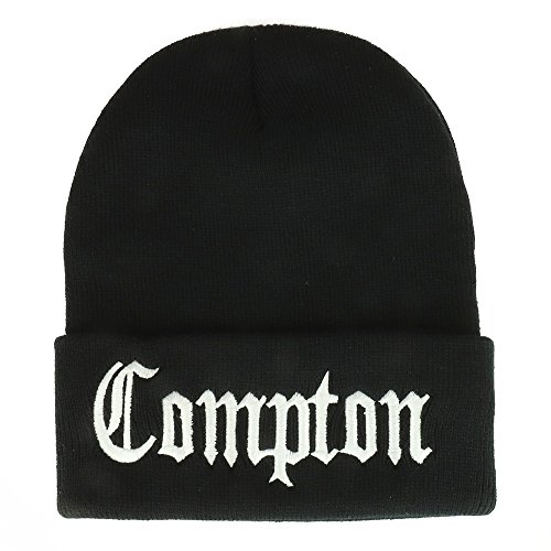 Trendy Apparel Shop Compton Old English Font Embroidered Long Cuff Beanie- Black,One Size