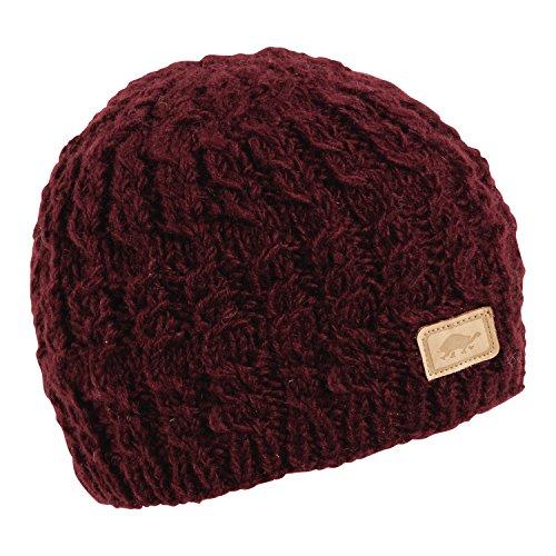 Hand Crocheted Wool - Turtle Fur Mika Nepal Artisan Hand Knit Women's Wool Beanie Bordeaux