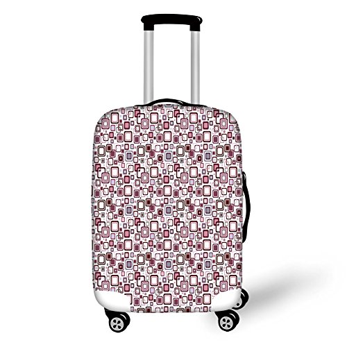 (Travel Luggage Cover Suitcase Protector,Circle Ornate Retro Pattern Eastern Univ)