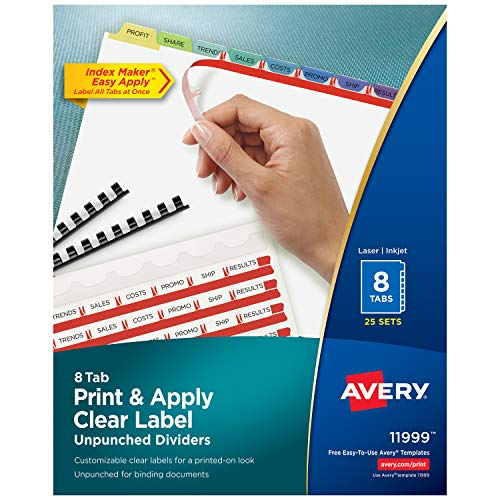 (Avery 8-Tab Unpunched Binder Dividers, Easy Print & Apply Clear Label Strip, Index Maker, Pastel Tabs, 25 Sets (11999) )