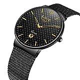 Godagoda Men Watch Quartz-Watch Stainless Steel Mesh Strap Ultra Thin Dial Date Clock