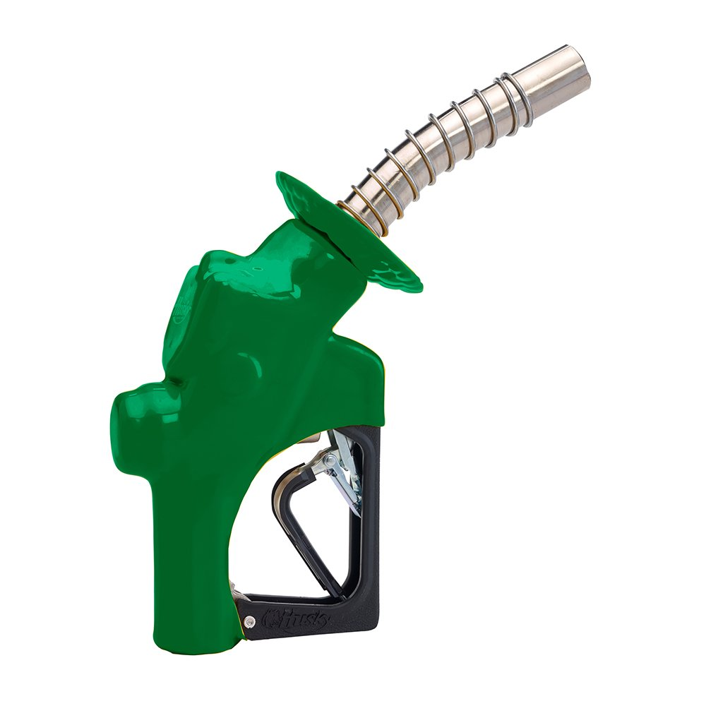 Husky 177610-03 New VIIIS Pressure Activated Heavy Duty Diesel Nozzle with 3-Notch Hold Open Clip, Green