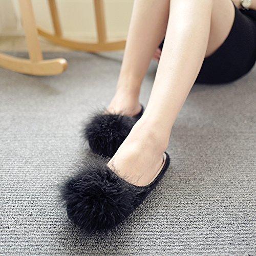 e calzado la Invierno casual flat fankou vistiendo Otoño Baotou un soltar zapatillas mujeres algodón mitad arrastrar y q1ZCxdw