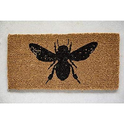 Creative Co-op Bee Print Natural Coir Doormat, Black, 4 Piece