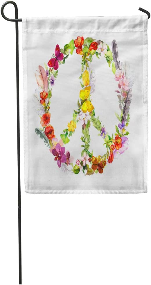 Semtomn Garden Flag Colorful Peace Sign Flowers and Feathers in Boho Watercolor Green Home Yard House Decor Barnner Outdoor Stand 12x18 Inches Flag
