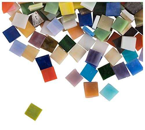 (Mosaic Tiles - 1000-Pack Glass Mosaic Pieces, Mosaic Chips, Opalescent Glass Mosaic, for Home Decoration, Craft Supplies, DIY Art Projects, Square Shaped, 40 Assorted Colors, 0.4 x 0.4 x 0.1)