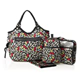 Isoki Hobo Diaper Bag Jewel, Black/Grey/Red