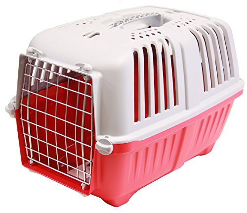 BPS (R) Transportín Rígido para Perro o Gato, Animales Domésticos, Tamaño: 48 x 31.5 x 33 cm. (Rojo)