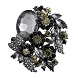 EVER FAITH Women's Rhinestone Crystal Party Flower Leaf Vine Brooch Black Black-Tone