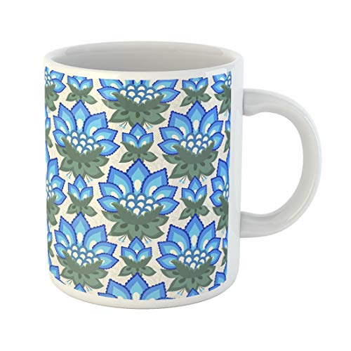 Tinmun 11 Oz Coffee Mug Green Floral Jacobean Flowers Colorful Herbal Collection Blue Meadow Decor Lover Funny Mug Birthday Gift Coffee Tea Cup -