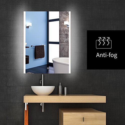 24'' X 32'' Bathroom Makeup Wall Mirror, Backlit Wall Mounted LED Lighted Vanity Bathroom Slivered Mirror with Anti-fog by WillanFS
