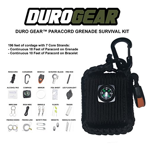 DURO-GEAR-Paracord-Grenade-Emergency-Survival-Kit-Fishing-Hiking-Camping-Fire-Starter-26-in-1-Tools