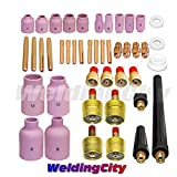 WeldingCity TIG Welding Regular and Gas Lens Setup Accessory Kit Cup-Collet-Collet Body-Gas Lens-Gasket-Back Cap 0.040''-1/16''-3/32''-1/8'' for Torch 9/20/25 T25