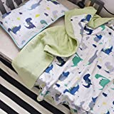 J-pinno Dinosaur Cute Muslin Quilt Blanket Bedding Coverlet Twin, 100% Cotton, Comforter Bedspread Throw Blanket for Kids Boys Bedroom Decoration Gift (5, Twin 59'' X 78'')
