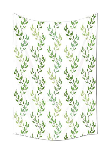 Wecottkerc Leaves Decor Collection Symmetrical Olive Leaves and Wavy Branches with Ethnic Patterns Classical Illustration Living Room Bedroom Dorm Wall -