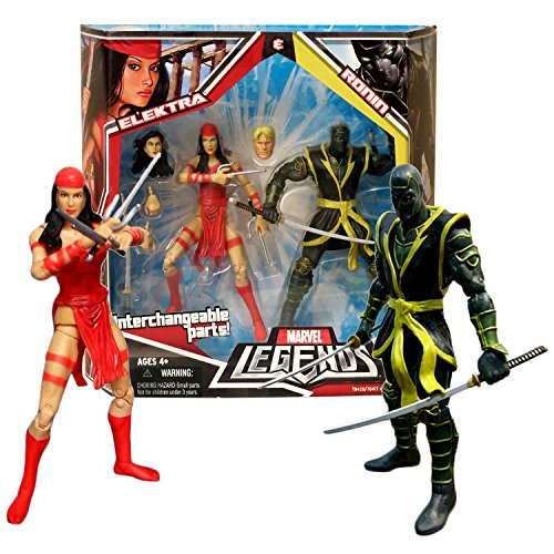 Hasbro Year 2008 Marvel Legends 2 Pack 6 Inch Tall Action Figure Set - ELEKTRA and RONIN with Interchangeable Heads & Hands, Sais and Katana - Legends Marvel 2008 Hasbro