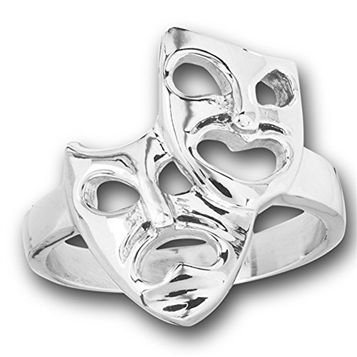 Happy Sad Comedy Tragedy Mask Face Ring New Stainless Steel Band Size 8 Comedy Tragedy Ring