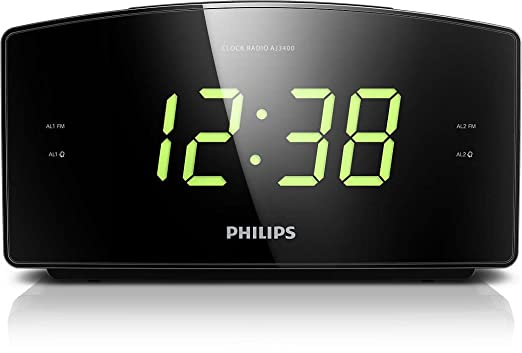 1038 opinioni per Philips AJ3400 Radio Sveglia con Grande Display, Digital UKW, Sleep Timer, Nero