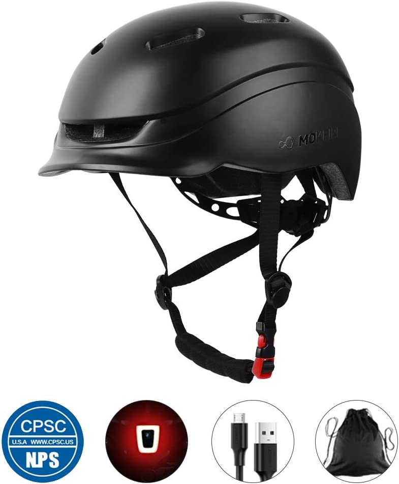MOKFIRE Adult Bike Helmet with Rechargeable USB Light Thick EPS Foam, Bicycle Helmet CPSC Certified for Urban Commuter Men Women, Adjustable Lightweight Cycling Helmet, 21.65-24.41 Inches