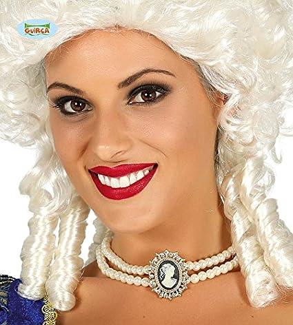 Guirca 17379 - Collar de perlas con cameo, color blanco