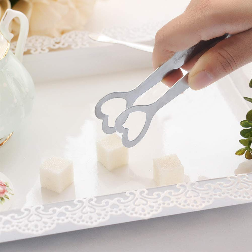 Sugar Cubes Tongs Anniversary and Birthday Party Ice Cubes Tongs Nestdo Stainless Steel Little Tongs for Wedding Sweet Sugar Jars Sweet Treats