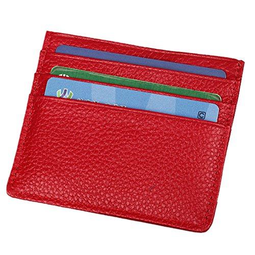 Hibate Echt Leder Kreditkartenetui Schlank Geldbörse Scheckkarten Kartenetui Visitenkartenetui - Blau Rot_RFID