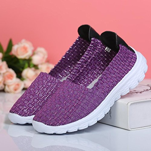 Elastic Purple Loafers Shoes wuayi On Light Flats Casual Sport Comfort Breathable Woven Mesh Women Water Weight Slip qanazgZwtx