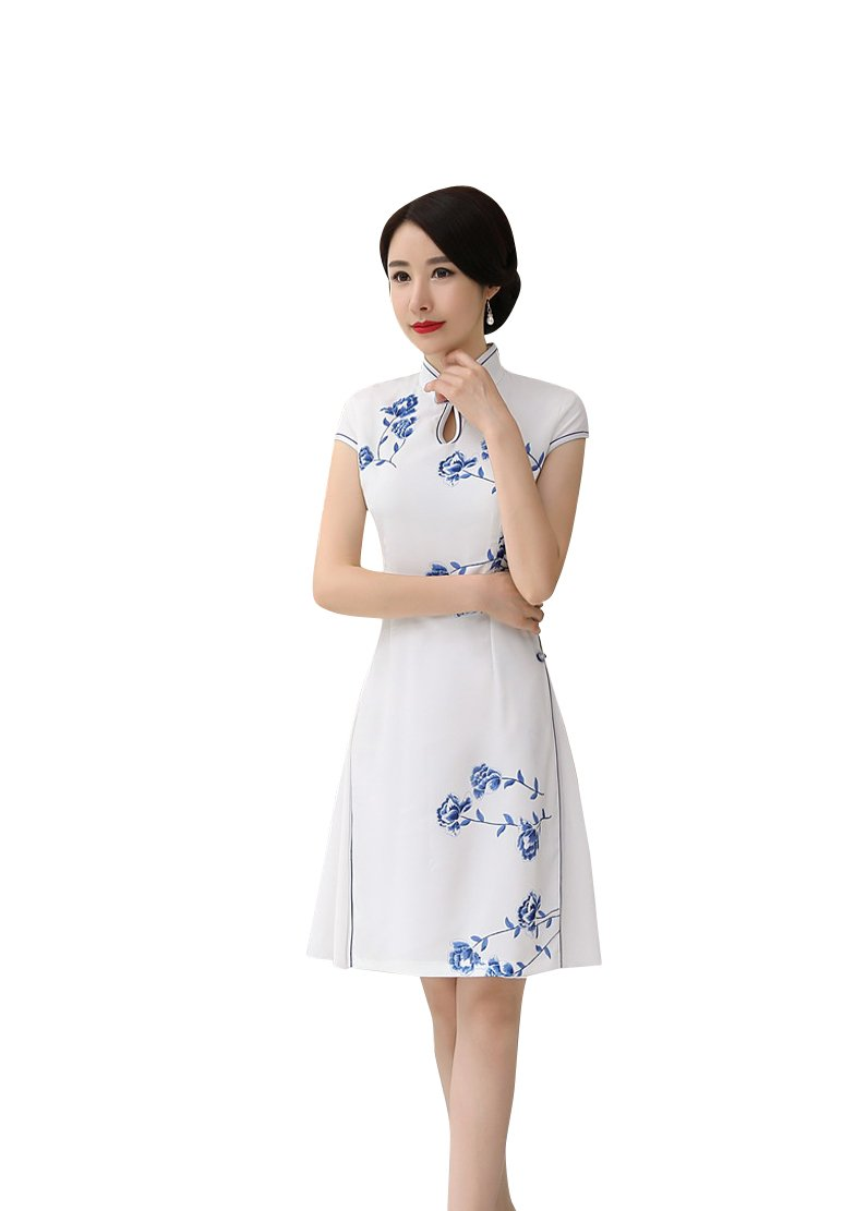 ACVIP Women Cap Sleeve Cheongsam Floral Short Split Qipao Dress with Liner (China M/Bust:33.9'', White)