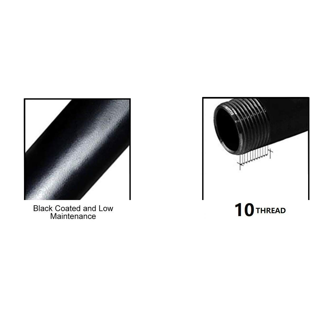 Black Pipe Malleable Gas Steel Pipe Fitting - 10Pack (3/4'' x 12'') by COTODO (Image #3)
