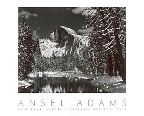 Half Dome, Merced River, Winter, Yosemite by Ansel Adams - 24 x 30 inches - Fine Art Print / Poster Photography Art Poster Print by Ansel Adams, 30x24 - Ansel Adams Half Dome