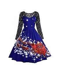 FarJing Christmas Dress, Women's Fashion Lace Print Christmas Party Swing Dress