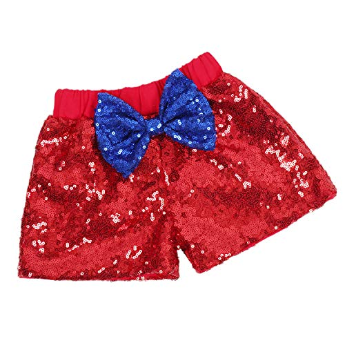 Red Glitter Sequin - Baby Girls Shorts Sparkle Toddler Sequin Shorts Glitter on Both Sides Birthday Outfits Red Royal Blue Sapphire 2T