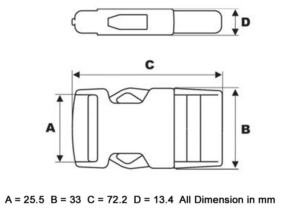 ITW Nexus #1514 Hebilla de 25 mm para cincha t/áctica militar